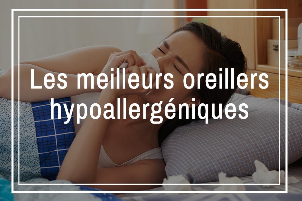 femme qui ne dort pas sur un oreiller hypoallergenique et éternue